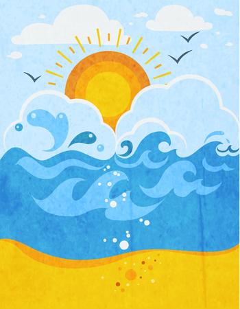 Onde del mare astratto con il sole in nubi e gabbiani illustrazione vettoriale piatta spiaggia di sabbia