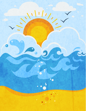 sandy beach: Sea waves abstract background with sun in clouds seagulls and sandy beach flat vector illustration