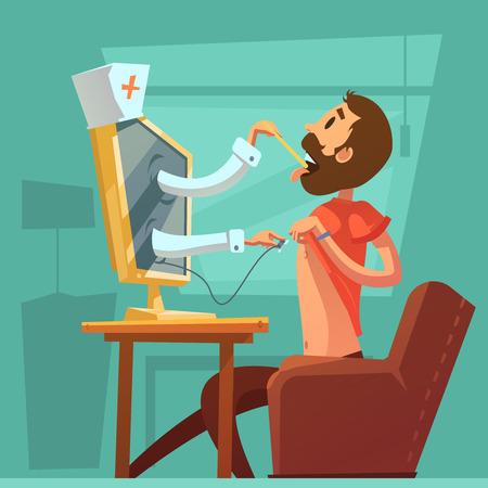 medico caricatura: médico ordenador de fondo con símbolos concsultation examen garganta ilustración vectorial de dibujos animados Vectores