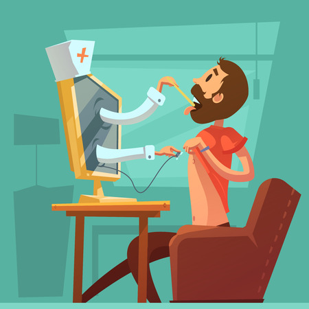 Computer doctor concsultation background with throat examination symbols cartoon vector illustration Illustration
