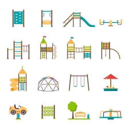 Plac zabaw płaskie ikony ustaw z karuzele huśtawki zjeżdżalnie i schody odizolowane ilustracji wektorowych Ilustracje wektorowe
