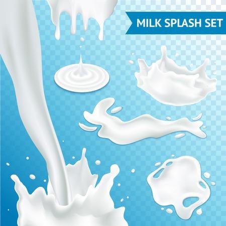latte fresco: Spruzzata del latte e versando insieme realistica su sfondo isolato trasparente illustrazione vettoriale