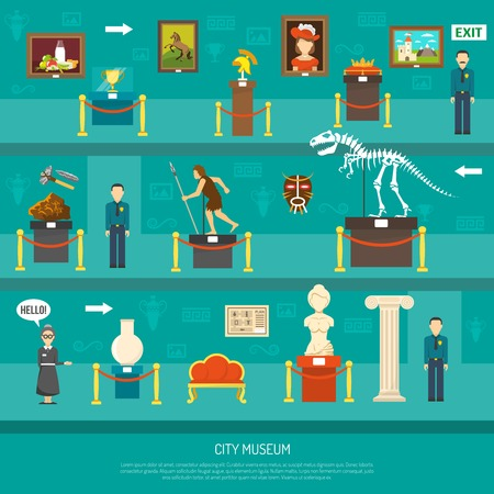 paleontology: City museum exhibition with exposure of arts and paleontology exhibits and guards flat vector illustration