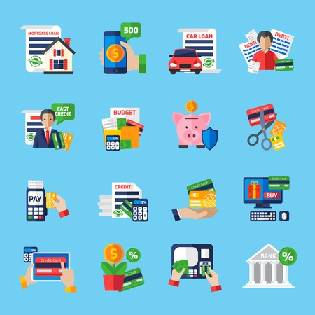 Loan debt flat color icons set of fast credit proposal budget scheduling mortgage loan payment terminal and scissors cutting credit card isolated vector illustration