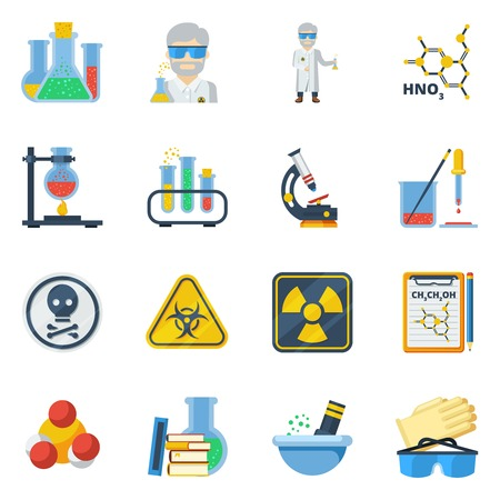 computer scientist: Chemistry flat color icons set with microscope burner ventilation laboratory equipment isolated vector illustration Illustration