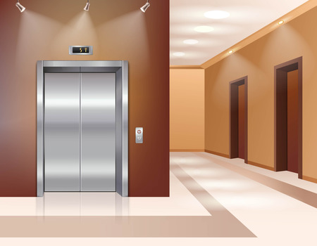 hotel hall: Hotel or office building hall with closed elevator door realistic vector illustration Illustration