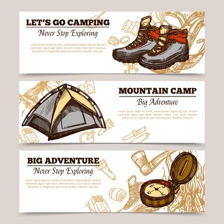 campamento: banderas de turismo horizontales establecidas presentación deja para ir de camping campamento de montaña y aventura ilustración vectorial mano dibujada grande