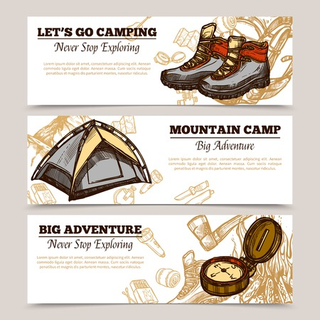 Horizontal tourism banners set presenting lets go camping mountain camp and big adventure hand drawn vector illustration