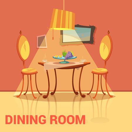 dining table and chairs: Dining room retro design with table chairs and picture cartoon vector illustration