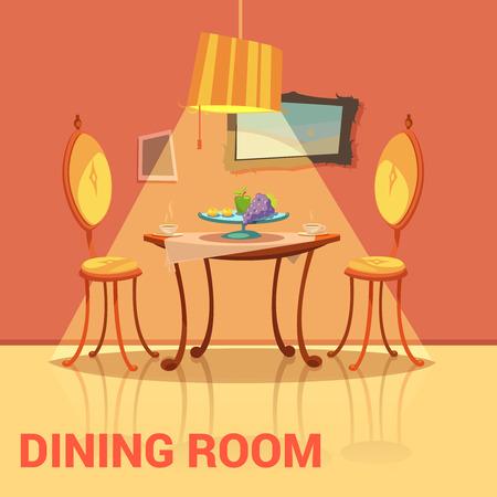 Esszimmer Retro-Design mit Tisch, Stühlen und Bild Cartoon-Vektor-Illustration Vektorgrafik
