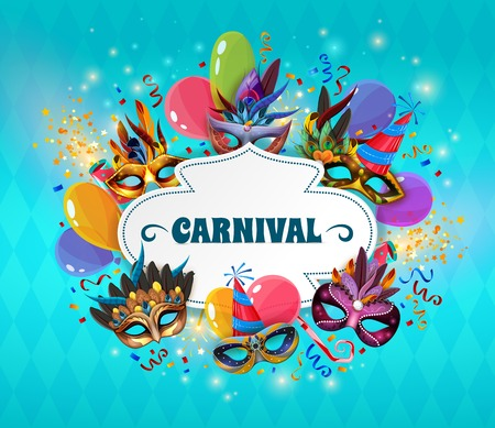 fashion art: Carnival realistic concept with masks and balloons on blue background vector illustration