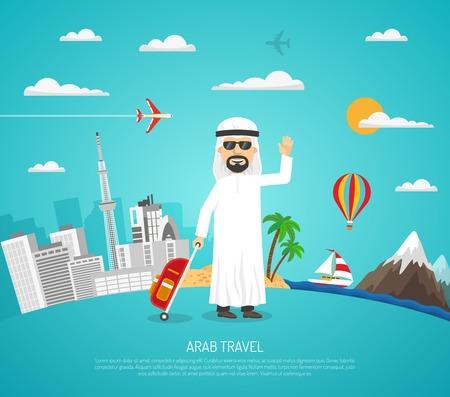 bagagli: manifesto di viaggio cartone animato con turista arabo in occhiali da sole sul paesaggio urbano e paesaggio di sfondo illustrazione vettoriale Vettoriali