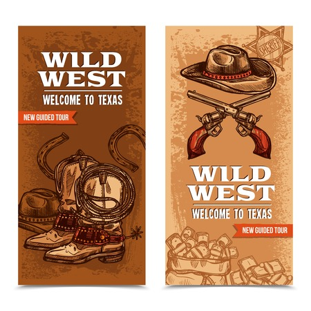spur: Wild west vertical banners with cowboy accessories and crossed pistols on template background hand drawn vector illustration Illustration