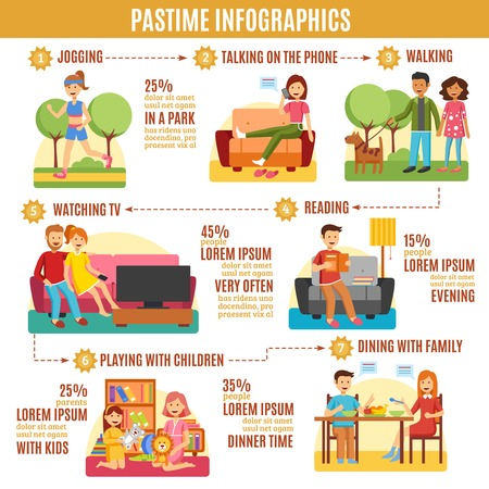 pastime: Abstract pastime infographics diagram with different types of activities vector illustration Illustration