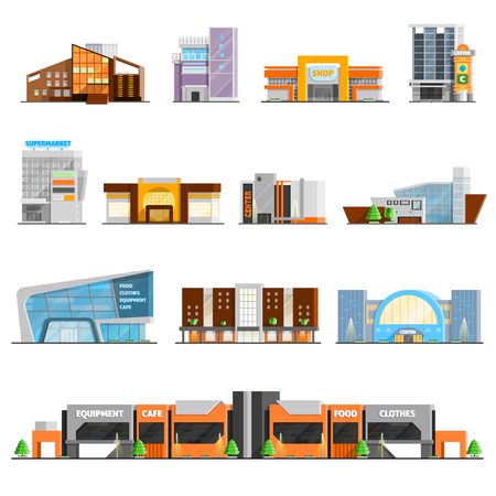 Shopping mall building orthogonal icons set with cafe and clothes symbols flat isolated vector illustration Ilustracja