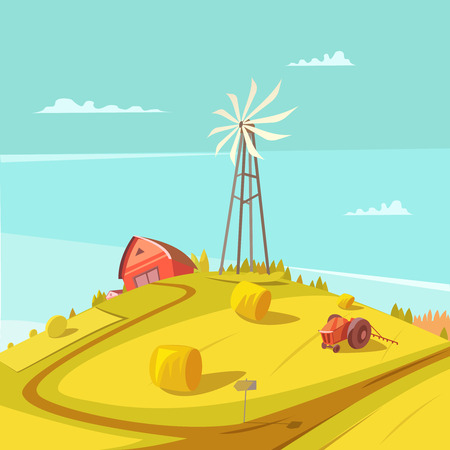 grain fields: Farming and agriculture background with windmill tractor house and haystack vector illustration