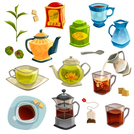Icons set with kinds of tea brewing methods and accessories for tea isolated on white background vector illustration Ilustração