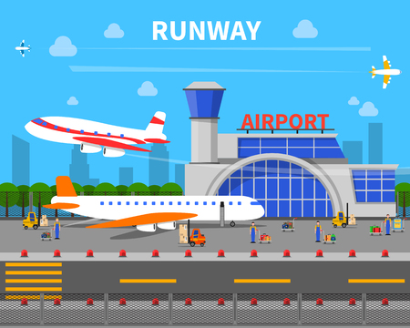 lift gate: Airport runway concept with planes and airport building flat vector illustration
