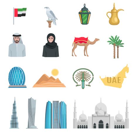 emiratos árabes unidos iconos planos con símbolos de estado y objetos culturales aislado ilustración del vector