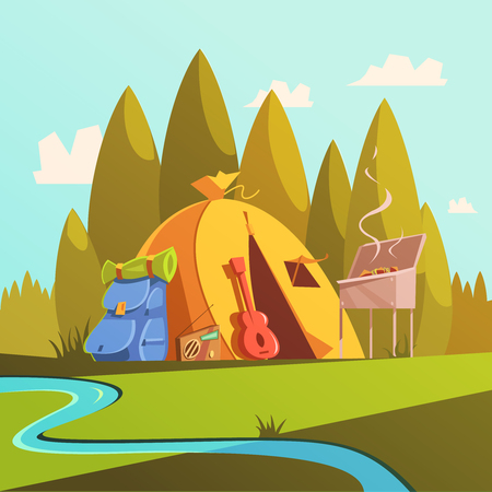 Hiking and tent background with river forest and barbecue cartoon vector illustration