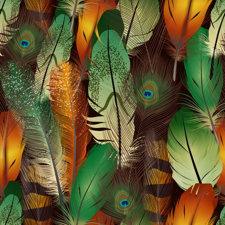 arte abstracto: Plumas realista patrón sin fisuras con coloridas aves plumas de aire ilustración vectorial Vectores
