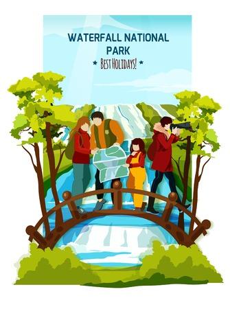 Flat affiche colorée avec la famille de touristes sur le pont en bois sur la rivière et la cascade fond de paysage illustration vectorielle Vecteurs