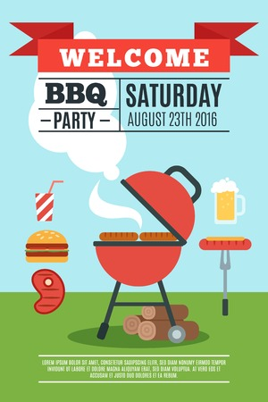 bbq background: BBQ poster with grill and cooked food flat vector illustration