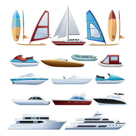 toy boat: Motor boats catamaran windsurfer and sailboat various types of water transport flat icons set abstract isolated vector illustration
