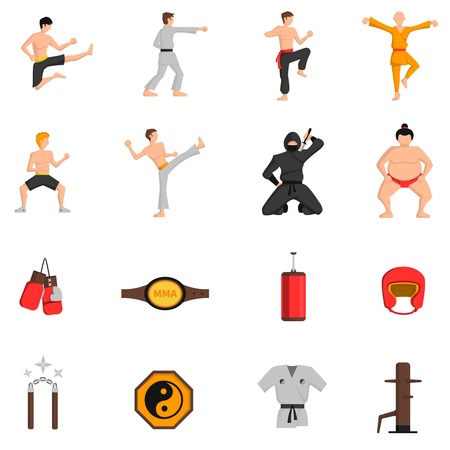 arts symbols: Martial arts icons set with boxing and judo symbols flat isolated vector illustration