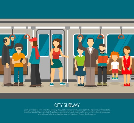 Subway poster of scene inside underground train carriage with crowd of sitting and standing passengers flat vector illustration Illustration