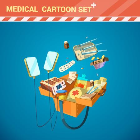 medical equipment: Hospital medical equipment cartoon set with syringe and pills vector illustration Illustration