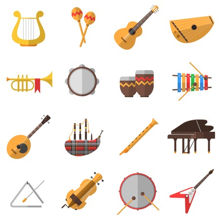 xylophone: Musical instruments icons set with piano guitar and drums flat isolated vector illustration
