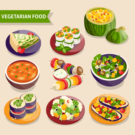 dishes set: Vegetarian dishes set with fresh vegetable food isolated vector illustration Illustration