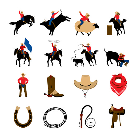 bucking horse: Rodeo flat color icons with rodeo cowboys riding on bulls and bronco isolated vector illustration