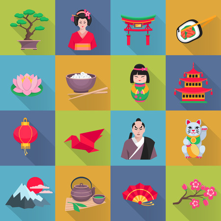 lotus lantern: Japanese culture flat icons collection with lotus flower red lantern and bonsai shadow abstract isolated vector illustration Illustration