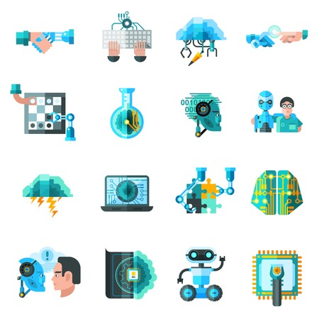 robots: Artificial intelligence icons set with robot laptop and keyboard flat isolated vector illustration