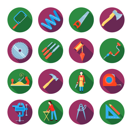vices: Construction working tools icons or stickers set of carpentry and Woodworking flat vector illustration Illustration