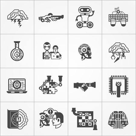 artificial: Artificial intelligence black white square icons set with technology symbols flat isolated vector illustration
