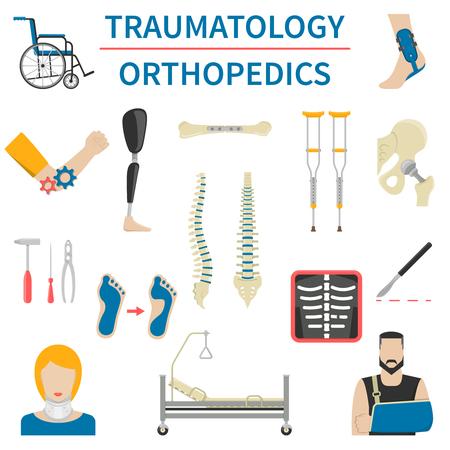 Wohnung Traumatologie und Orthopädie-Symbole mit Patienten medizinische Instrumente Prothese und anderen Knochentraumata isoliert Vektor-Illustrationen