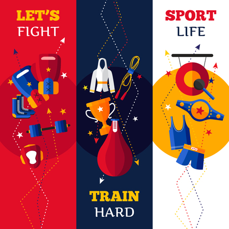 attributes: Three flat vertical banners set of  abstract shadowed isolated boxing attributes vector illustration Illustration