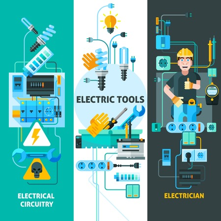 circuitry: Electricity vertical banners set with electric circuitry symbols flat isolated vector illustration