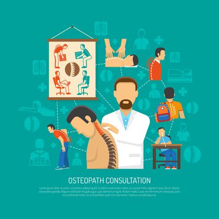 concetto di design piatto Osteopatia con il medico del paziente di consulenza e le icone di persone con problemi della colonna vertebrale illustrazione vettoriale