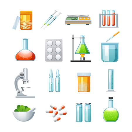 medications: Pharmacology flat icons collection with microscope pills tablets and mixture medications microscope abstract isolated vector illustration