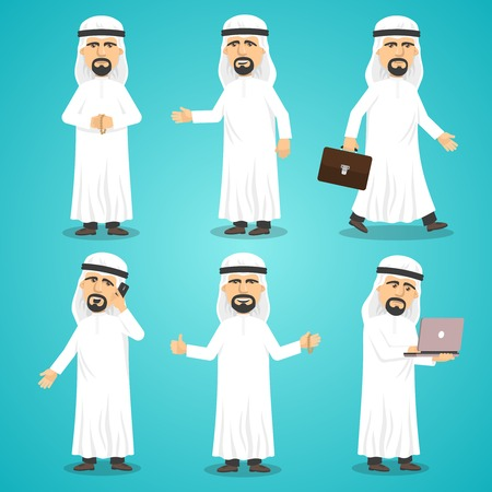 cartoon clothes: Cartoon images set of arab man in traditional arabic clothing isolated vector illustration
