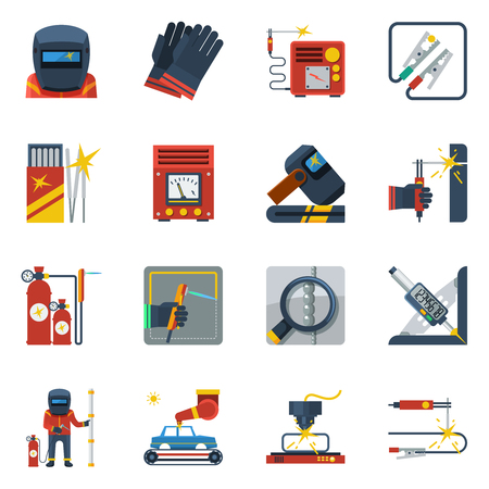 Schweiß flache Farbe Icons Set von Gasflaschen Gummihandschuhe Helm Gasbrenner isolierten Vektor-Illustration