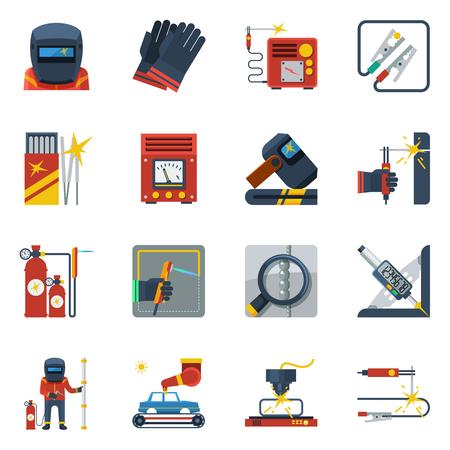 Spawanie płaskie kolorowe ikony zestaw palnika gazowego rękawice gumowe butle gazowe kask Izolowane ilustracji wektorowych