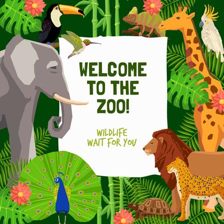 zoologico: cartel colorido con los animales tropicales y la invitación a visitar ilustración vectorial plana zoológico