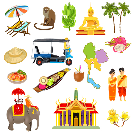thai orchid: Thailand icons set with elephants coconuts beaches and boats cartoon isolated vector illustration