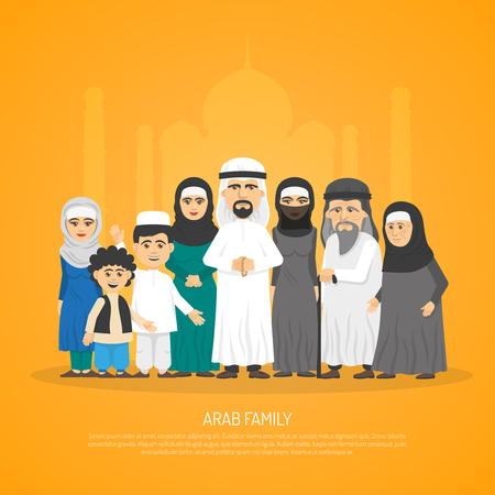 interests: Poster presenting arab family from grandparents to kids in traditional arabic clothing cartoon vector illustration