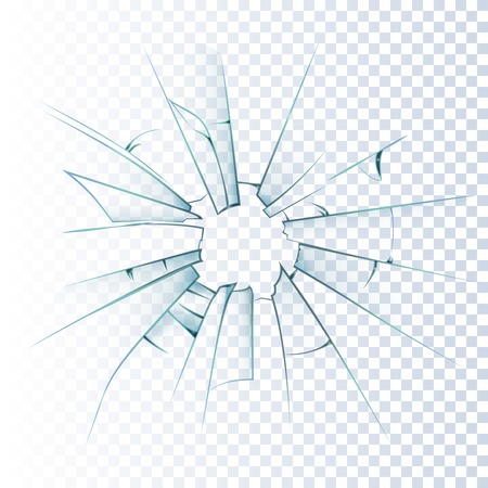Broken frosted window pane or front door glass background decorative  realistic daylight design vector illustration
